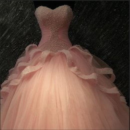 2016 New Real Image Quinceanera Dresses Sweetheart Major Beading Ball Gown Tulle 16 Sweet Girls Princess Pink White Prom Party Gowns Custom
