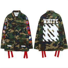 Wholesale OFF WHITE Camouflage Jacket Men Hip Hop Street Windbreaker Military Bomber Coat Striped Print Cotton Canvas Jackets Men Coat