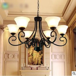 Wholesale American Country Vintage Antique Imitation Brass Copper Iron Glass Decor Luxury Livingroom Bedroom Ceiling European Chandelier