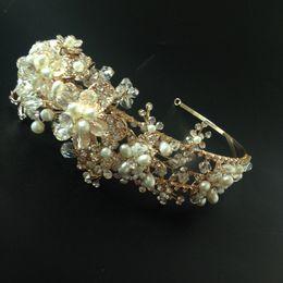 Handmade Gold Pearl Wedding Tiara Hair Accessories Rhinestone Bridal Headband Crown Stunning Party Prom Women Headbands