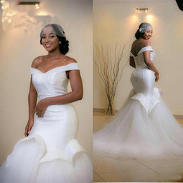 Wholesale african wedding dresses crystals beaded vestido de novia ruffles mermaid bride gowns court train fish tail wedding gowns