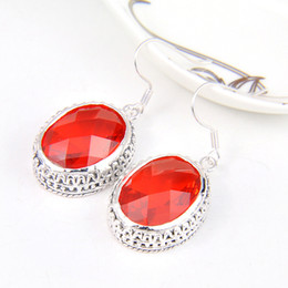 Wholesale 6 Pairs Luckyshine Thanksgiving Gift Antique Oval Fire Red Quartz Gems Sterling Silver Dangle Earrings Russia Canada Drop Earrings