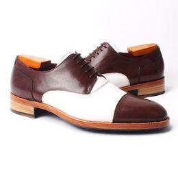 Men Dress shoes Oxfords shoes Men's shoes Custom handmade shoes wingtip Genuine calf leather Color split HD-N036
