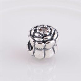 Fits Original Pandora Bracelets & Bangles & Necklaces PALE YELLOW BLOOMING ROSE CHARM DIY Beads Real Solid 925 Sterling Silver Not Plated