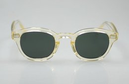 Retro Vintage Depp polarized sunglasses frame yellow crystal frame green lenses