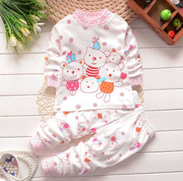 Kids pajamas and pant sets pure cotton suits boys and girls cartoon long sleeve t-shirts and pants sets 2 colors 2016 autumn clothing.