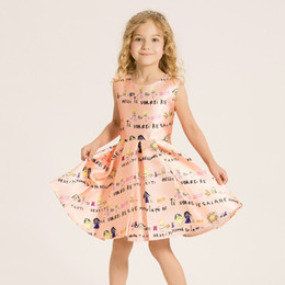 EMS DHL Free Shipping New Brand Cute Style Girls Cream Floral Printed Dress Cotton Polyester A-line Sleeveless Princess Weddings Dress