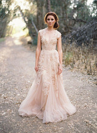 2018 Vintage Wedding Dresses With Champagne Tulle V-Neck Appliques Ruffles Cap Sleeve Wedding Party Dress Bridal Gowns