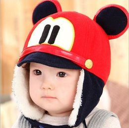 Wholesale Retail Baby Unisex Cute Mouse Double Ear Earmuffs Beanies Bomber Hats Child Kids Winter Warm Earflap Ear Protection Cap AA