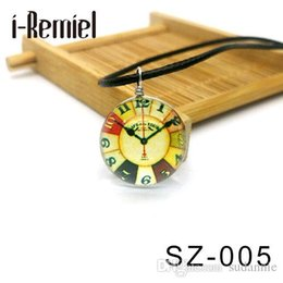 i-Remiel Life Tree Pendant Necklace Art Glass Vintage Clock Picture Necklace&Pendant Glass Cabochon Fashion Silver Color Jewelry Br