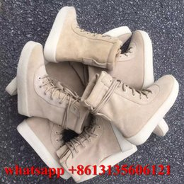 Wholesale 2016 Vintage Lovers Style Nubuck Leather Chelsea Boots Lace Up Kanye West Ankle Boots Platform Botas Casual Men s High Martain Botas Shoes