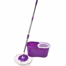 Wholesale Spinning Floor Mop Bucket Set Driying Fast Easy Rotating Cleaning Mop Microfiber Mophead Stainless Dual drive Rods