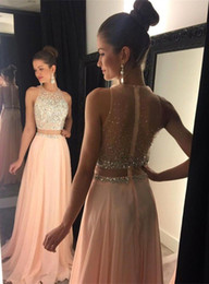 2016 Peach Pink Two piece Evening Dresses A Line with Gold Beads Sequins Crystal Back Zipper Long Chiffon Formal Prom Party Gowns