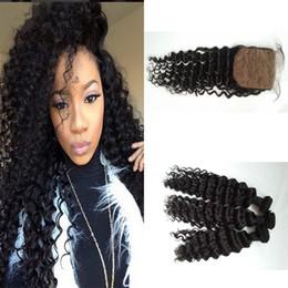 Brazilian Virgin Hair With Closure Deep Wave Human Hair Weave 8-30inch Brazilian Deep Curly With Silk Base Closure G-EASY