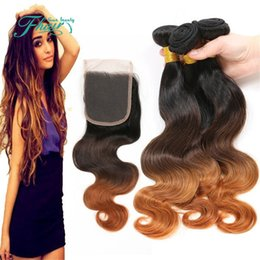 Ombre Peruvian Hair Body Wave With Closure Three Tone 1B 4 30 Honey Blonde Ombre Human Hair Bundle Deals With Lace Closure