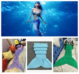 Wholesale Adult Mermaid Blanket cm plus size Mermaid Sleeping bags Handmade Mermaid Tail Blankets Sofa Blankets Mermaid Swaddle KKA419