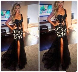 Split Black Mermaid Evening Dresses 2016 One Shoulder See Through Lace Appliques Sexy Women Formal Dresses Evening Wear Prom Gowns