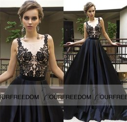 Wholesale Illusion Neck Black A line prom dresses sexy sheer Lace Appliques long Arabian Prom Evening Gowns robe de soiree