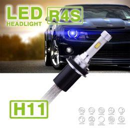 Wholesale Slim Hid Fog Lights - 1 Set H8 H9 H11 R4S 90W 10400LM LED Headlight Super Slim Conversion Kit Single Beam Driving Fog Lamp Bulb 45W 5200LM Repl HID Xenon Halogen