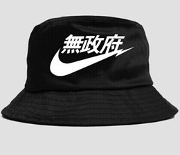 Wholesale-Black White Red Navy Japanese Chinese Letter Sad Boy Bucket Hat Bob Boonie Hunting Floral Reversible Fishing Hat Hip Hop Panama