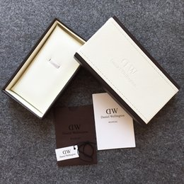 Wholesale 4Design Top Brand Luxury DW Daniel Wellington Original Watch Boxes A Complete Set Leather Watches Box With Manual Tag Tool