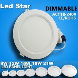 Dans la lumière conduit 6w à vendre-dimmable LED encastré dans la lumière 6w 9w 12w 15w 18w 21w conduit downlights lumières du panneau de plafond ca 110-240V + pilotes