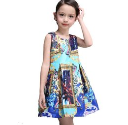 Wholesale 2015 Summer New Children Clothes Girl Dress Abstract Print Fashion Sundress Girl Princess Dress Y