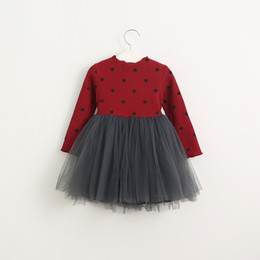Wholesale New Kids Girls Knitted Tutu Dress Dots Fall Winter Sweater Dress Multi Color Princess Party Dress