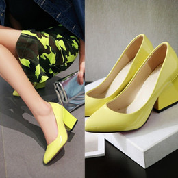 women high chunky heel shoes pointy closed toe leather office slip on pumps yellow black white