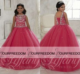 Wholesale Amazing Sparkly Crystal Princess Ball Gown Girls Pageant Dresses Backless Tulle Tiered Flower Girl Dresses For Wedding Child Prom Party Dre