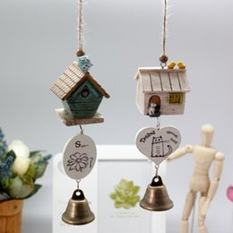 Wholesale Creative Wooden small house wind chimes with printed cartoon wind chimes japanese with metal bell garden wind chimes outdoor