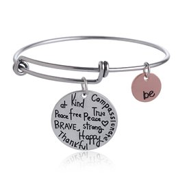Wholesale Handmade Be Brave Bracelet Charms Bangle Thankful Happy Expandable Wire Bracelet Alex and Ani Bracelets for Women