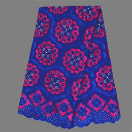 Graceful design African embroidery cotton lace fabric with rhinestones Swiss voile lace material ECP2 (5yards pc) free shipping