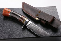 2016 New arrival Damascus steel fixed blade hunting knife 60HRC Matte finish blade outdoor survival straight knife gift knives