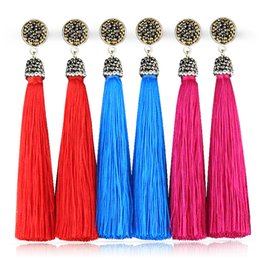 Bohemia Crystal Silk Tassel Earrings Handmade High Quality Blue Red Long Drop tassel Dangle Earrings Women Fashion Jewelery