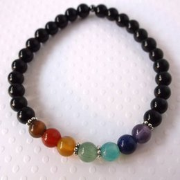 Wholesale 7 Chakra bracelet with obsidian Genuine natural stone stretch bracelet Healing energy wrist mala to balance and align the chakras