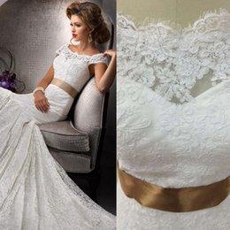 Wholesale 2016 Hot Vestido Novias Vintage Ivory Lace Alibaba Wedding Dresses Mermaid With Sash Ribbons Bridal Gowns Vestido De Novia Playa