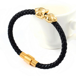 Newest Fashion Red Black Genuine Leather Bracelet Silver and Gold Stainless Steel Tiger Head Magnetic Clasp Bangle Free Shipping