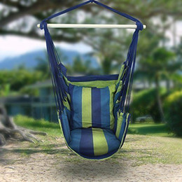 Outdoor Canvas Striped Hanging Hammock Rope Swing Seat Chair Porch Camping Blue