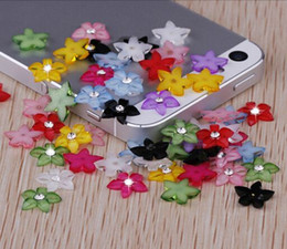 Wholesale News Mixed colors Flat Back Resin Flowers Cabochon With Rhinestone For Diy Phone decoration nail art Scrapbooking mm