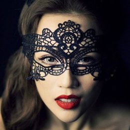 Wholesale Lace Home Dress - Styles Black Lace Floral Mask For Sexy Lady Cutout Eye Face Mask Masquerade Mysterious Masks For Home Party Fancy Dress Costume