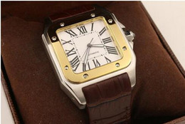Luxury New Brand Men two tone 100 XL Watch Automatic Mechanical Watch Brown Leather Gold Case Men's Sports original clasp WristWatches