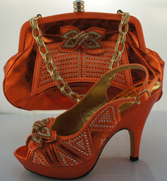 Newest Italian yellow shoes and matching bag set shiny diamond decoration 11 cm high heel ME0013