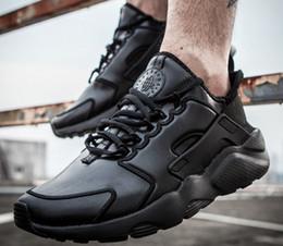 Air en cuir libre en Ligne-2016 Nouveau Top qualité en cuir PU Air Huarache Ultra Run Chaussures Unisexe Noir respirantes Sneakers Taille 5,5-11 36-45 Livraison gratuite Hoi