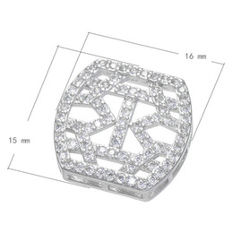 925 Silver Style Cubic Zircon Micro Pave Brass Connector Platinum Plated & Hollow Nickel Lead & Cadmium Free 15x16mm 10 PCS Lot Free Shiping