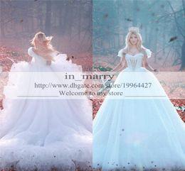 Wholesale Cheap Vintage Victorian Dresses - Romantic Cinderella Arabic Ball Gown Wedding Dresses Cheap 2017 Off Shoulder Cascading Ruffles Skirt Crystal Plus Size Dubai Victorian Gowns