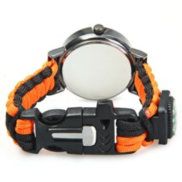 Wholesale Men Women Outdoor in Travel Sport Watch with Fire Starter Paracord Compass Whistle Rescue Bracelet Military Watches