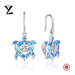 925 Sterling Silver Blue Opal Stone Earrings Gold Plated with Dancing CZ Diamond Long Earrings for Women Bijoux Femme Fashion Jewelry
