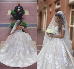 Off Shoulders A Line Satin Wedding Dresses 2018 New Arrival Lace Appliques Ruched Corset Back Long Bridal Gowns Said Mhamad Vestido de novia
