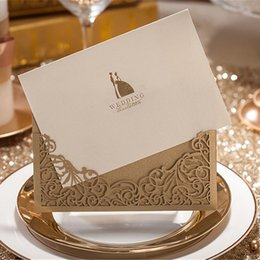 Laser Cut Wedding Invitations Gold Wedding Invitation Card Flowers Hollow Wedding Card Free Customized Printing & Envelopes & Stickers
